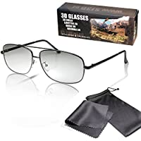 SJ3D 被動 3D 眼鏡 - 飛行員眼鏡 / 飛行員眼鏡啞光黑色 - 偏光鏡片 - 適用于 RealD 3D 電影和電視:LG Cinema 3D 飛利浦 Easy 3D 收音機東芝 3D Natural Vizio 3D 和 3DTVs 來自 SONY Panasonic 松下 Grundig Hisense CMX 等等。 - 包括超細纖維眼鏡袋和清潔布