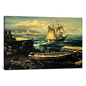 iCanvasART 9065-1PC3-40x26 Coastal New England 'Boat' Canvas Print by Nicky Boehme, 0.75 x 40 x 26-Inch