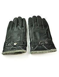 范米尼 男士真皮手套加绒加厚保暖手套冬季骑车特厚防寒保暖棉手套PG4012单筋纽扣白线罗纹