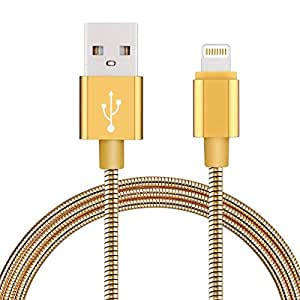 Enligten iPhone Cable, 2Pack 3.3FT Stainless Metal Braided Lightning to USB iPhone Charger Cord with Aluminum Connector for iPhone 7/7 Plus/6s/6s Plus/6/6Plus/5s/5c/5, iPad/iPod Models 金色 3.3 feet