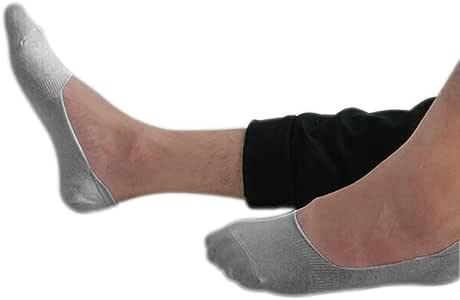 Sinlifu 5 双 女式 男式乐福鞋 船形 隐形防滑衬里低帮棉袜 灰色 Med (12-14)20cm/7.9in Lady0014