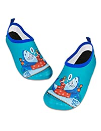 儿童水游泳鞋赤脚水袜鞋速干防滑婴儿男孩和女孩 蓝色鲨鱼 12.5-13 Little Kid