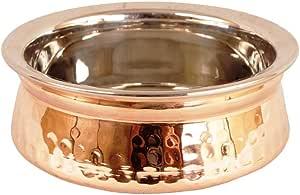 印度食品碗,盛放谷物、汤、烹饪食品派对餐具,菜碟铜,钢制手柄 15 CM