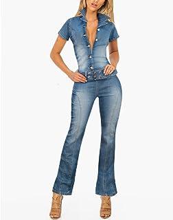 HyBrid & Company 女士超舒适弹力破洞牛仔连身衣工装裤