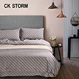 CK STORM 家纺正品 田园系列纯棉舒适简约素色条纹印花床品四件套 (简宜-灰色, 标准码适合(1.5m(5英尺)-1.8m(6英尺)床))