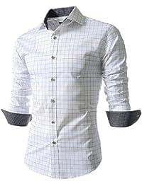 benibos 男式休闲长袖格子修身衬衫