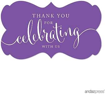 Andaz Press 花式框架标签 Thank You for Celebrating Purple AP14555