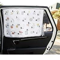 磁性汽车遮阳帘侧窗婴儿儿童遮阳罩保护免受太阳眩光 热量阻挡 紫外线眩光 汽车内部遮阳遮光卷帘 (Be-Pastel Alphabet)