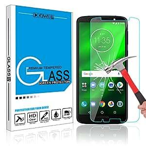 Moto G6 Plus 钢化玻璃屏幕保护膜,DONWELL 9H 硬度超清防刮防指纹无气泡屏幕保护膜适用于 Moto G6 Plus 1 包