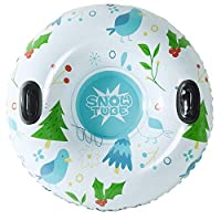 [2019 *新] 雪管 - 超大 47 英寸充气雪橇适合儿童和成人 - 双层底部加固手柄雪橇管 - 重型由 0.6 毫米厚材料制成