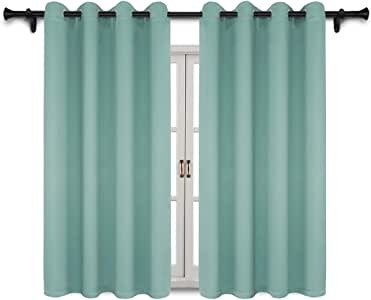 SUO AI TEXTILE 遮光窗帘片隔热窗帘扣眼顶切板,适合卧室/客厅,2 片宽 132.08 厘米 水绿色 52X63 inch-2 panels SAAMBERBLK-5263C09