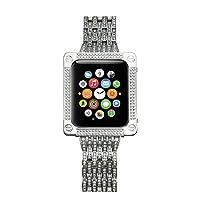 LUXSUISH 闪耀钻石套装适用于苹果手表表壳方形保护壳+水钻水晶手表表带适用于苹果手表 S1/S2/S3 适合更大尺寸 42mm(表带和表壳 2 合 1 套装)