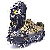 LeanKing 冰雪握把,牵引防滑鞋钉,18 个尖钉鞋,适合在雪上、冰泥、沙和湿草上徒步时穿
