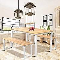 Hooseng 3 件套厨房餐桌套装,木质餐桌和 2 个长椅套装,米色