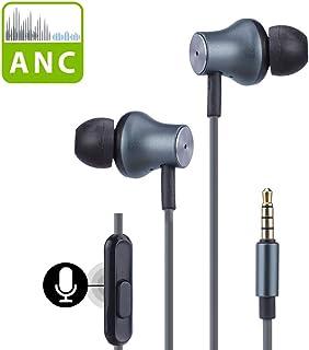 Avantree 主动降噪耳机带麦克风,有线ANC降噪耳机,降噪隔离耳塞3.5毫米耳机,适用于旅行飞机、iPhone手机、PC、ANC029
