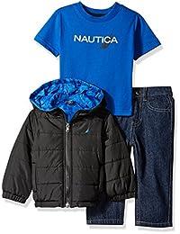 Nautica 婴儿男孩三件套装带连帽夹克, T 恤, DENIM
