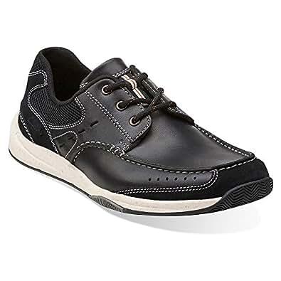 Clarks Men's Allston Edge Black Leather Lace-Up Shoes - 7.5 D(M) US