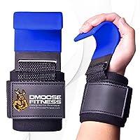 DMoose 健身举重挂钩夹(双) - 8 毫米厚软垫氯丁橡胶,双缝合,防滑涂层 - 用优质健身钩手套保护您的抓握并实现您的目标