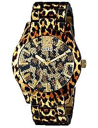 GUESS 女式 U0001L2 运动动物 Magnetism 金色手表