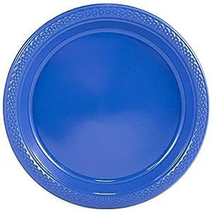 "JAM Paper 圆形彩色塑料派对盘子 - 20 个/包 蓝色 Medium (9"") 9255320675"