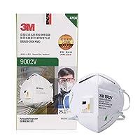 3M 带阀防护口罩 KN90折叠头带式防雾霾防沙尘 9002V 25只/盒(亚马逊自营商品 由供应商配送)