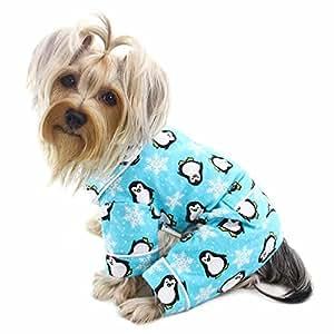 企鹅和雪花法兰绒狗狗睡衣/紧身衣/家居服 - 蓝绿色 - XS 码