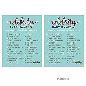 Andaz Press Lil Man Mustache Boy 宝宝派对系列 卡片名流名称 AP14826