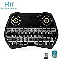 Rii i28C 3 in 1 Backlit Wireless Mini Keyboard With Touchpad And Rechargable Handheld Multi-media Keyboard For PC Laptop Raspberry PI MacOS Linux HTPC IPTV Google Smart TV Android Box XBMC Windows