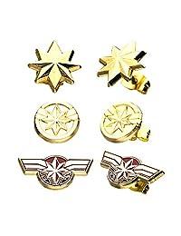 Marvel 漫画中性成人 Marvel Captain Base 金属耳钉套装,金色,均码