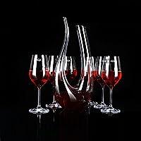 EDELITA 意大利意德丽塔 罗纳柔情无铅水晶葡萄酒杯高脚杯大号红酒杯酒具 (6支装460ml(配U型醒酒器+银色杯架))