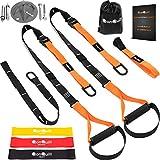 阻力带训练器捆绑包 – 完整体重训练带套件 + 壁挂安装支架 + 3 个锻炼环带 – 五根锚定解决方案适用于家庭、健身房和户外锻炼