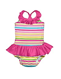 i play. by green sprouts 女童连体泳衣,内置可重复使用的游泳尿布  粉色多条纹 6 Months