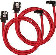 Corsair Premium Sleeved SATA 3 Kabel gewinkelt / gerade (6Gbps, 60 cm) rot