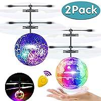 AMENON 飛球,2 只裝兒童玩具手動控制器直升機紅外感應遙控飛行玩具可充電發光球無人機帶遙控控制器適用于男孩女孩室內戶外游戲