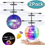 AMENON 飞球,2 只装儿童玩具手动控制器直升机红外感应遥控飞行玩具可充电发光球无人机带遥控控制器适用于男孩女孩室内户外游戏