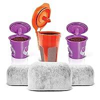 2 個可重復使用的 KCups,1 個可重復使用的玻璃瓶 KCup 和 3 個替換炭水過濾器,Housewares Solutions 適用于 Keurig 2.0 沖泡系統