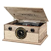 Victrola 4 合 1 Cambridge Farmhouse 现代蓝牙转盘,带 FM 收音机,农舍燕麦