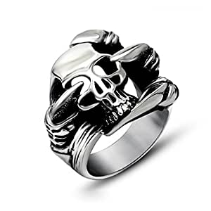 Chryssa Youree 男士不锈钢珠宝骑手戒指哥特式骷髅手环 7 至 12 (DJZ-032) 黑色 Size 12