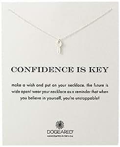 "Dogeared 亚马逊进口直采 美国品牌 ""Reminders"" Confidence Is Key Cute Silver Pendant Necklace 18""(约45.7厘米) ""自信是关键""银色 女士项链 18""(约45.7厘米)"