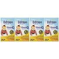 Ddrops Baby 400 Iu 滴劑,90滴,0.08盎司(約2.27克),4盒