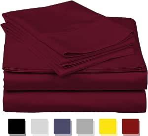 Thread Spread Exotic 酒店系列 * 埃及棉缎 - 正品 800TC 床单套装 白色和象牙色 酒红色 加州King size