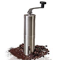 手动咖啡研磨机 - 可调节陶瓷锥形烧烤咖啡豆研磨机不锈钢机身和易手柄,适用于办公家、旅行野营一致的研磨法式压机