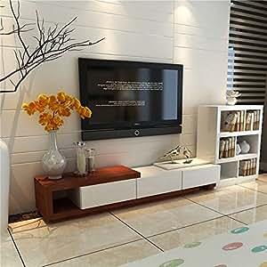 现代创意伸缩电视柜 钢化玻璃烤漆电视柜 简约现代电视柜 组合电视机柜子 (单独电视柜(不含边柜), 胡桃色+米白色)
