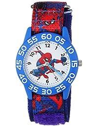 MARVEL 男童蜘蛛俠石英塑料尼龍休閑手表,顏色:藍色(型號:WMA000189)