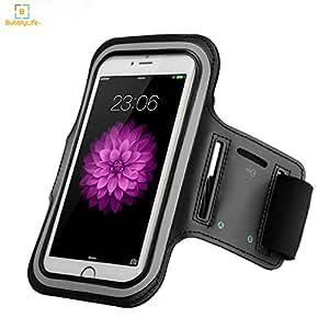BubblyLifeUS 臂带(5.5 英寸)带防水防汗屏幕保护膜和钥匙夹,适用于 iPhone 8 Plus/7 Plus/6S Plus/6 Plus,Galaxy S8/S7/S6,5.5 英寸 - 黑色 黑色