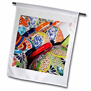 3dRose fl_208869_1 亚利桑那州图森,Tubac 传统手绘墨西哥盆花园旗,30.48 x 45.72 cm