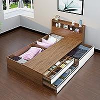 唯美馨 高箱储物床收纳床抽屉床1.2米1.5米主卧床榻榻米床双人床 (宽1000*长1900mm, 南疆胡桃木 三抽)