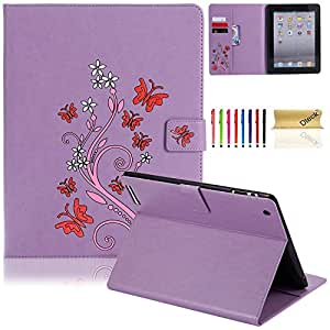 iPad Case, iPad 2/3/4 Case, Dteck(TM) PU Leather Stand Case Auto Sleep/Wake Function [Card Slot] Flip Folio Protective Shell Magnetic Closure Wallet Smart Cover for Apple iPad 2 3 4 9 Purple 9.7 Inch