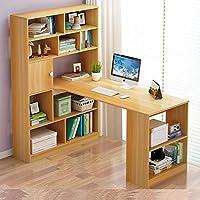 带书柜组合电脑桌台式转角办公桌书桌书架一体桌小户型书桌简约定制写字台 (120cm豪华款尼亚美胡桃色)