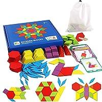 Aship 155 块木制图案积木套装经典教育玩具 24 种设计拼图形状分类板几何积木板经典教育玩具大脑翻转 STEM 儿童礼物